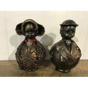 Zeeuwse Set beeldjes middel bol brons
